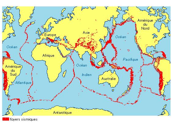 La répartition mondiale des séismes