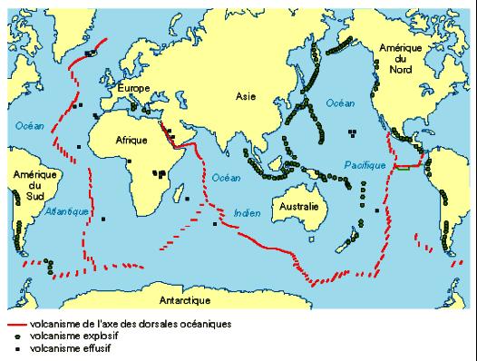 La répartition mondiale des volcans
