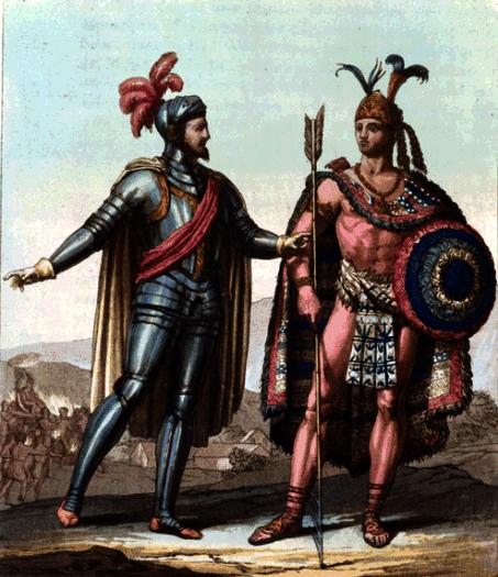 Hernán Cortés et l'empereur aztèque Montezuma II