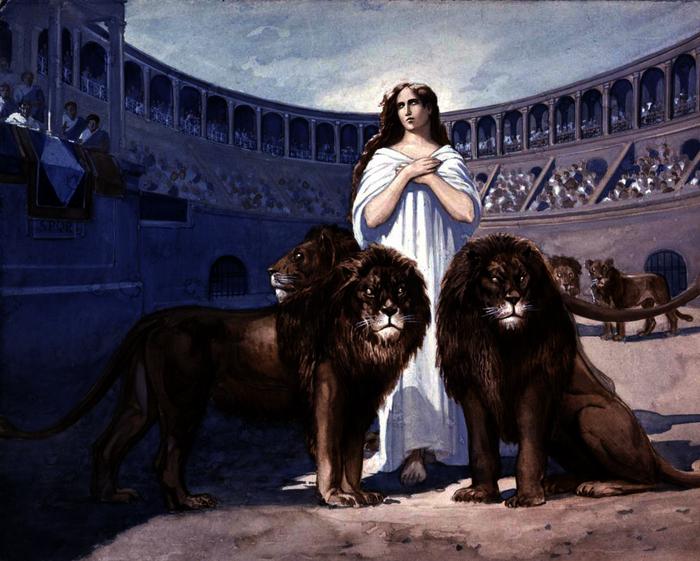 Sainte Blandine dans l'arène aux lions