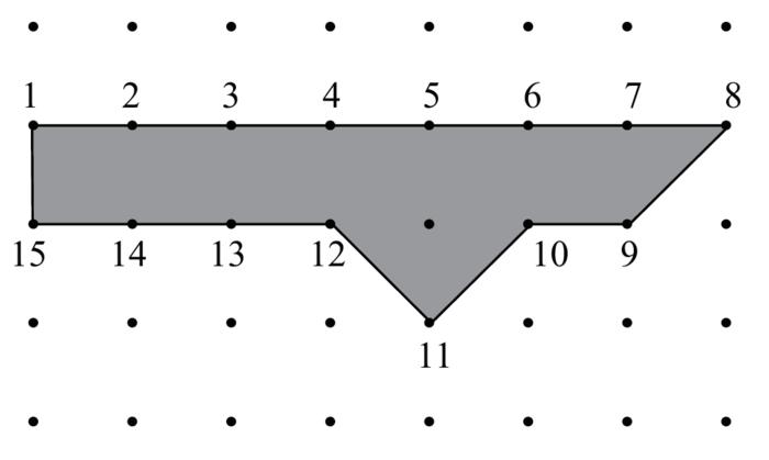Polygone de Pick tel que A = 7,5, i = 1 et b = 15