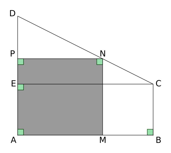 Vue de dessus du toit (la figure n'est pas à l'échelle)