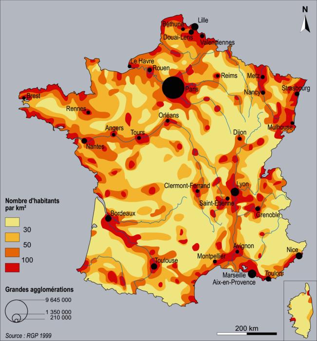 La répartition de la population en France