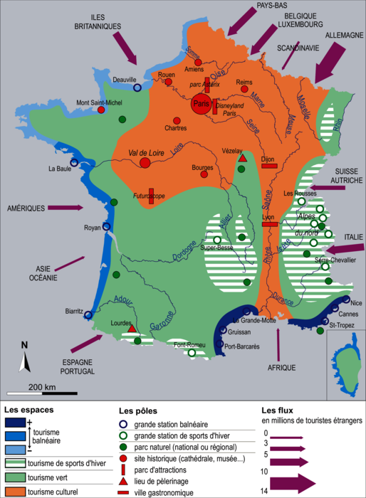 Les dynamiques de l'espace touristique français